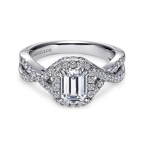 Georgette 14k White Gold Emerald Cut Halo Engagement Ring angle 1