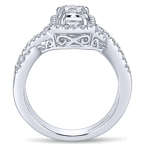Georgette 14k White Gold Emerald Cut Halo Engagement Ring angle 2