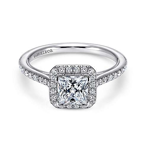 Georgia 18k White Gold Princess Cut Halo Engagement Ring angle 1