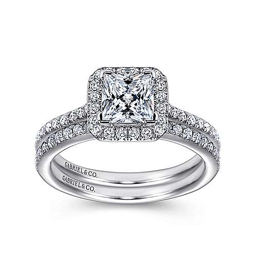Georgia 18k White Gold Princess Cut Halo Engagement Ring angle 4