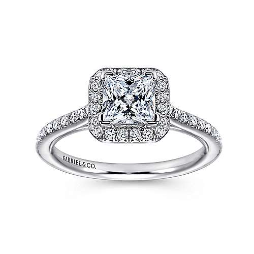 Georgia 18k White Gold Princess Cut Halo Engagement Ring angle 5