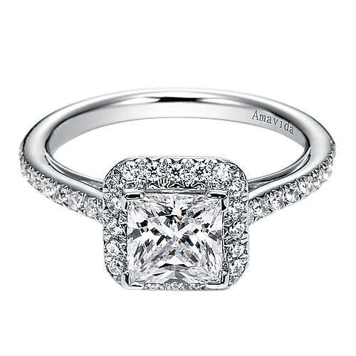 Gabriel - Georgia 18k White Gold Princess Cut Halo Engagement Ring