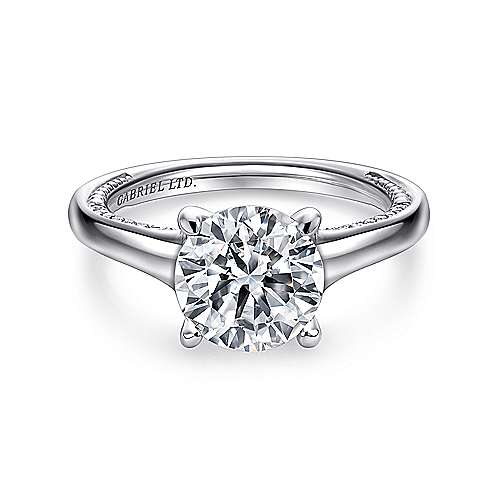Gabriel - Gia 18k White Gold Round Straight Engagement Ring