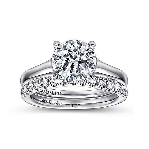 Gia 18k White Gold Round Straight Engagement Ring angle 4