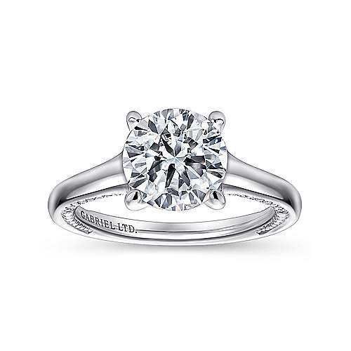 Gia 18k White Gold Round Straight Engagement Ring angle 5