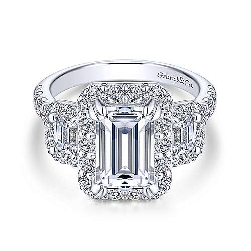 Gibson 18k White Gold Emerald Cut 3 Stones Halo Engagement Ring