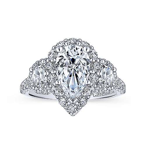 Gibson 18k White Gold Pear Shape 3 Stones Halo Engagement Ring angle 5