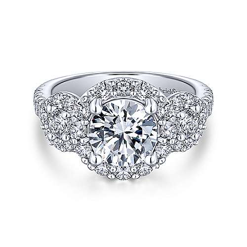 Gabriel - Gibson 18k White Gold Round 3 Stones Halo Engagement Ring