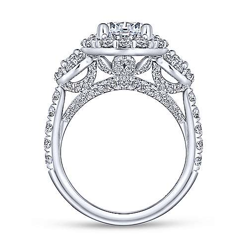 Gibson 18k White Gold Round 3 Stones Halo Engagement Ring angle 2