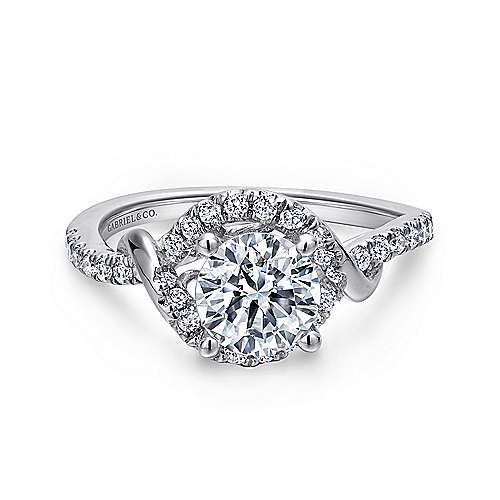 Gabriel - Gigi 14k White Gold Round Halo Engagement Ring