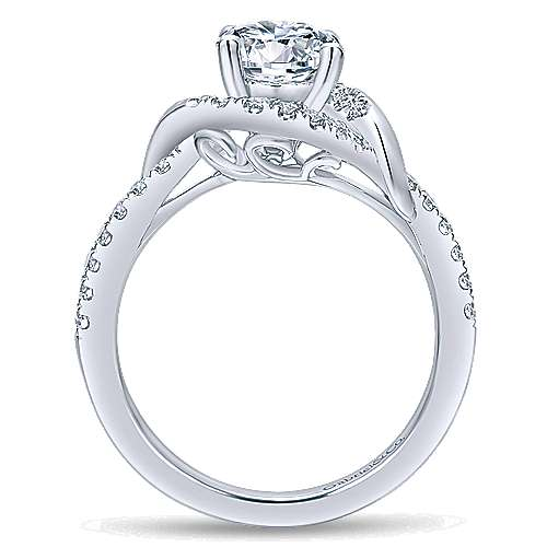 Gigi 14k White Gold Round Halo Engagement Ring angle 2