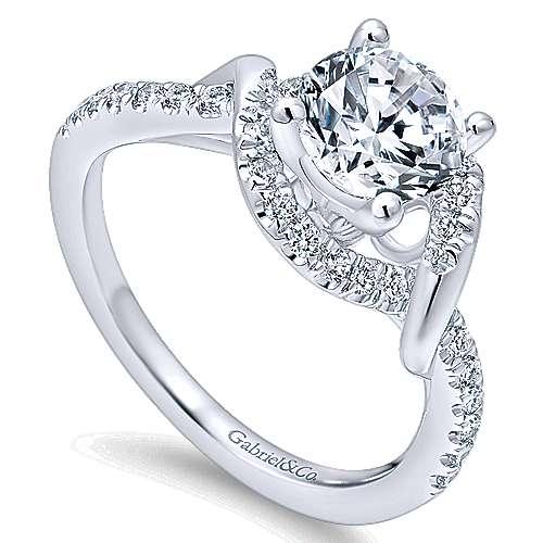 Gigi 14k White Gold Round Halo Engagement Ring