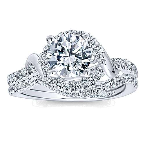 Gigi 14k White Gold Round Halo Engagement Ring angle 4