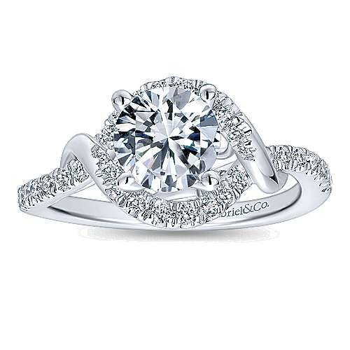 Gigi 14k White Gold Round Halo Engagement Ring angle 5