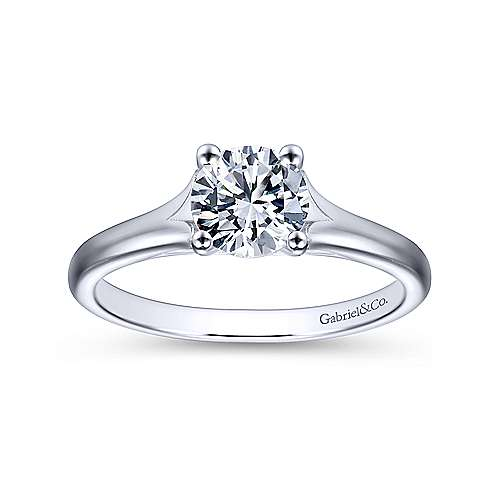 Gillian 14k White Gold Round Solitaire Engagement Ring angle 5