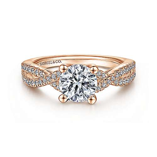Gabriel - Gina 14k Rose Gold Round Twisted Engagement Ring