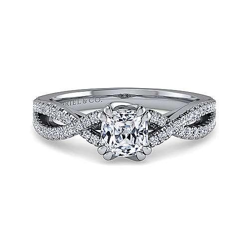 Gabriel - Gina 14k White Gold Cushion Cut Twisted Engagement Ring