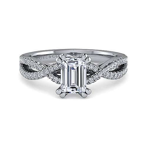 Gabriel - Gina 14k White Gold Emerald Cut Twisted Engagement Ring