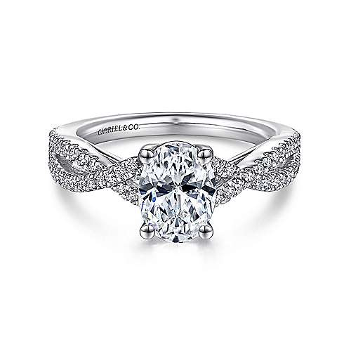 Gabriel - Gina 14k White Gold Oval Twisted Engagement Ring