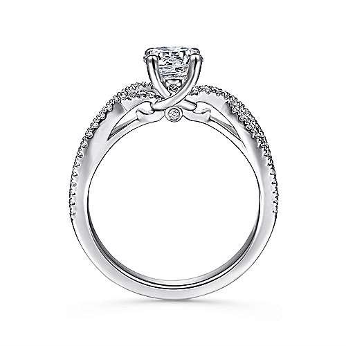 Gina 14k White Gold Round Twisted Engagement Ring