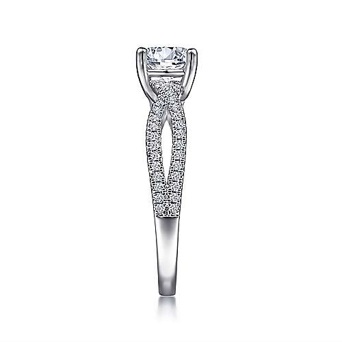 Gina 14k White Gold Round Twisted Engagement Ring angle 5