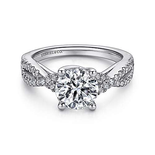 Gabriel - Gina 14k White Gold Round Twisted Engagement Ring
