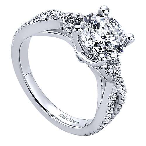 Gina 14k White Gold Round Twisted Engagement Ring
