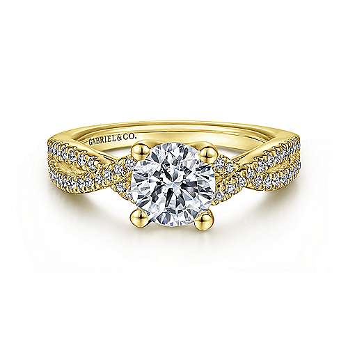 Gabriel - Gina 14k Yellow Gold Round Twisted Engagement Ring