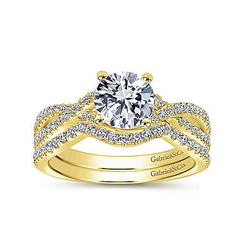 Gina 14k Yellow Gold Round Twisted Engagement Ring angle 4