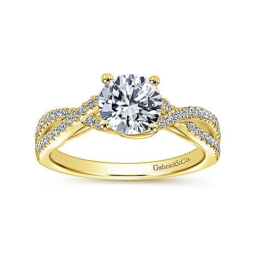 Gina 14k Yellow Gold Round Twisted Engagement Ring angle 5