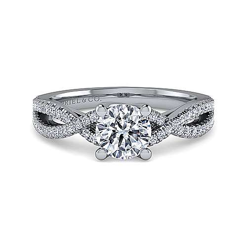 Gabriel - Gina Platinum Round Twisted Engagement Ring