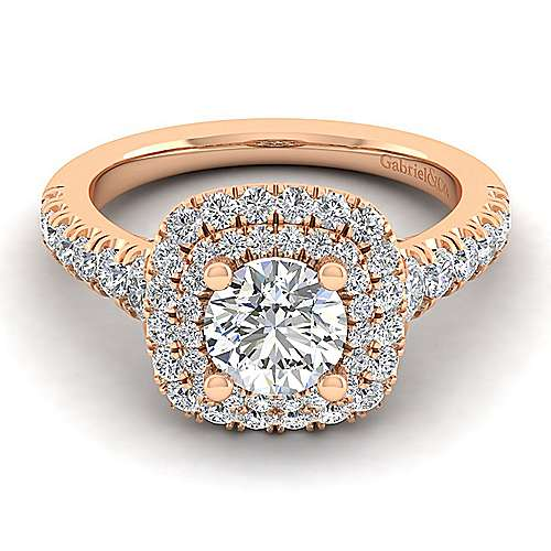 Gabriel - Ginger 14k Rose Gold Round Halo Engagement Ring