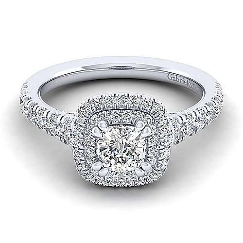 Gabriel - Ginger 14k White Gold Cushion Cut Double Halo Engagement Ring
