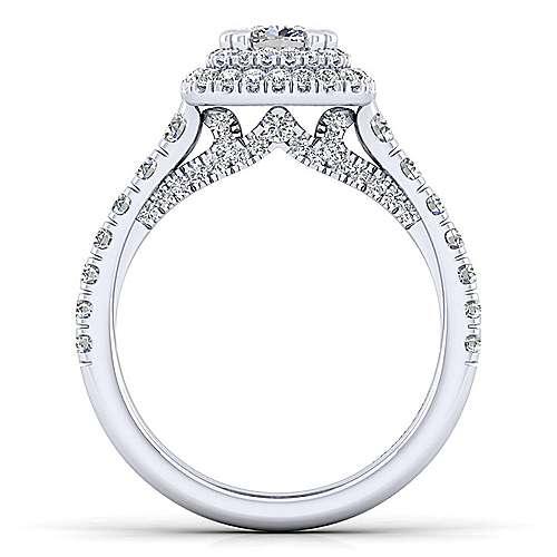 Ginger 14k White Gold Cushion Cut Double Halo Engagement Ring angle 2