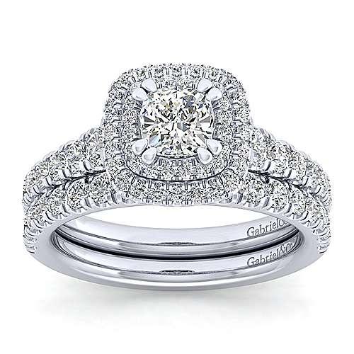 Ginger 14k White Gold Cushion Cut Double Halo Engagement Ring angle 4