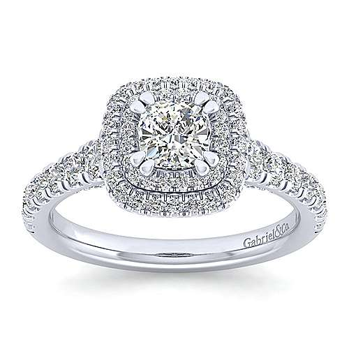 Ginger 14k White Gold Cushion Cut Double Halo Engagement Ring angle 5