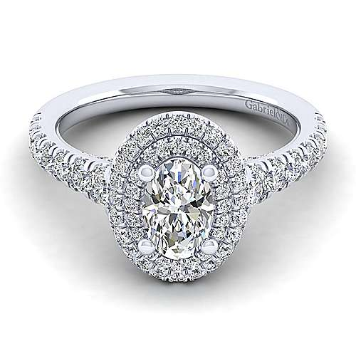 Gabriel - Ginger 14k White Gold Oval Double Halo Engagement Ring