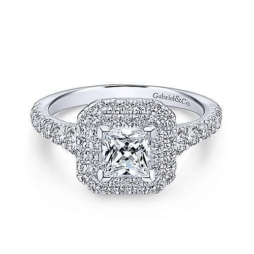 Gabriel - Ginger 14k White Gold Princess Cut Double Halo Engagement Ring