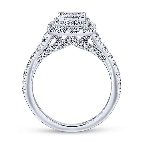 Ginger 14k White Gold Princess Cut Double Halo Engagement Ring angle 2