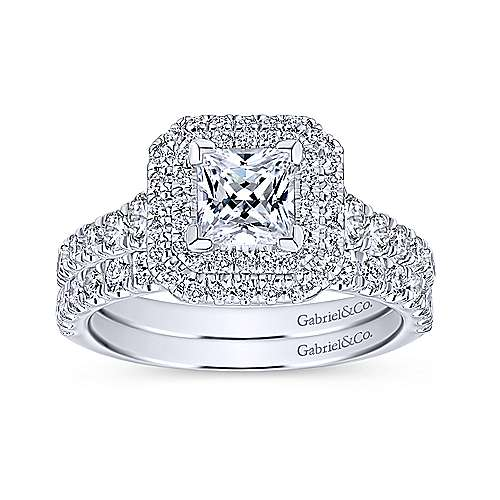 Ginger 14k White Gold Princess Cut Double Halo Engagement Ring angle 4