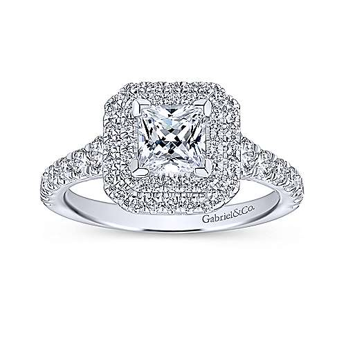 Ginger 14k White Gold Princess Cut Double Halo Engagement Ring angle 5