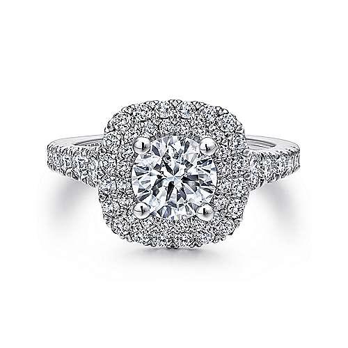 Ginger 14k White Gold Round Double Halo Engagement Ring angle 1
