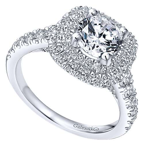 Ginger 14k White Gold Round Double Halo Engagement Ring angle 3