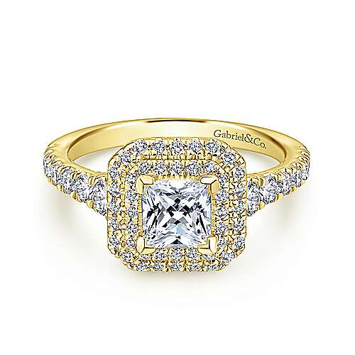 Gabriel - Ginger 14k Yellow Gold Princess Cut Double Halo Engagement Ring