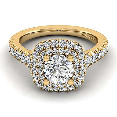 Gabriel - Ginger 14k Yellow Gold Round Halo Engagement Ring