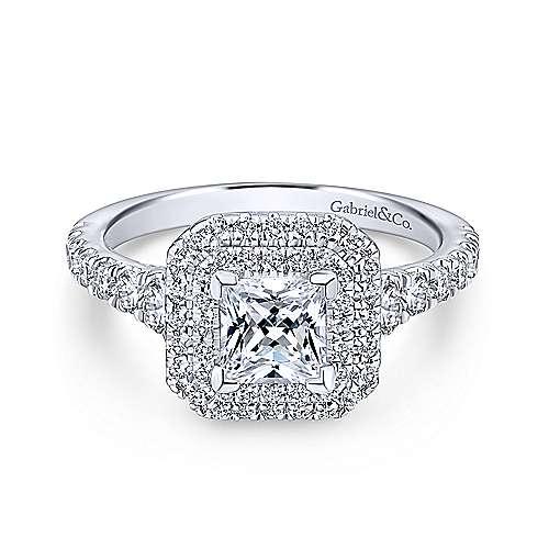 Gabriel - Ginger Platinum Princess Cut Double Halo Engagement Ring