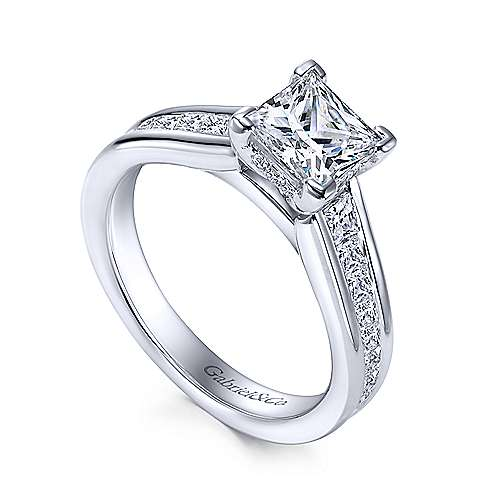 Giovana 18k White Gold Princess Cut Straight Engagement Ring Angle 3