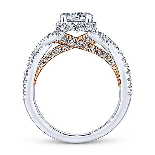 Gisela 14k White And Rose Gold Round Twisted Engagement Ring angle 2