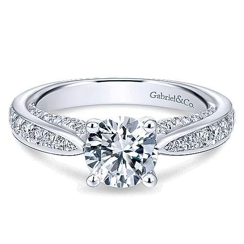 Gabriel - Gladiola 14k White Gold Round Straight Engagement Ring