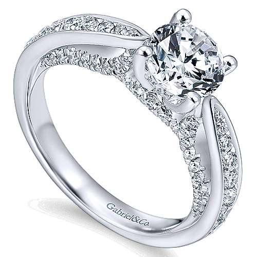 Gladiola 14k White Gold Round Straight Engagement Ring angle 3